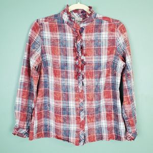 Como Vintage Flannel Button Up Ruffle Shirt Small